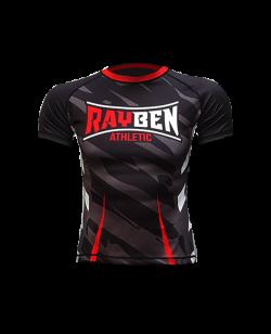 Rayben Zero Rashguard Kurzarm schwarz/rot