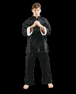 FW Shaolin Kung Fu Uniform Anzug schwarz mit weißen Kragen