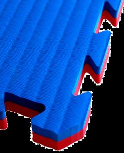 FW Sportmatte Cushion 40mm 1x1m rot/blau Puzzle Wendematte