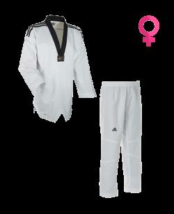 adidas Taekwondo Uniform Fighter LADY 3 Streifen schwarzes Revers aditld01