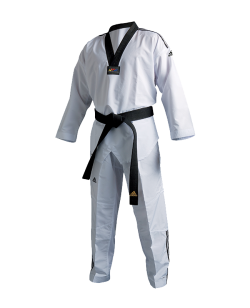 adiTF02 TKD Fighter Uniform 3 Streifen schwarzes Revers WTF approved