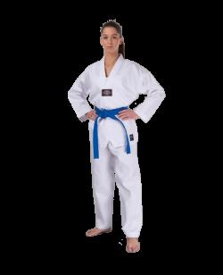 Fighter`s World TAEKWONDO Anzug JINYANG 140 cm weißer Kragen Aufdruck am Rücken 140