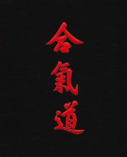 Stil Bestickung AIKIDO in japanischen Schriftzeichen ca. 10 x 3cm auf Gürtel oder Textil