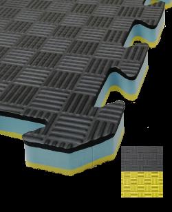 FW Sportmatte Club 24mm 1x1m  gelb/schwarz Puzzle Wendematte