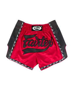 Fairtex Muay Thai Short satin rot/schwarz BS1703