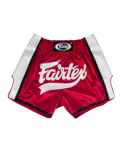 Fairtex Muay Thai Short satin rot/weiß BS1704