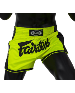 Fairtex Muay Thai Short satin neon grün/gelb BS1706