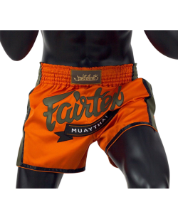 Fairtex Muay Thai Short satin orange/grün BS1705