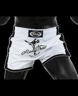 Fairtex Muay Thai Short satin weiß/schwarz BS1707