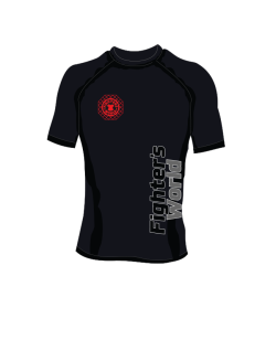 Fighter`s World Rashguard Octagon Kurzarm schwarz rot