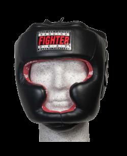 FIGHTER Kopfschutz Full Face mit Kinn+ Jochbeinschutz schwarz/rot