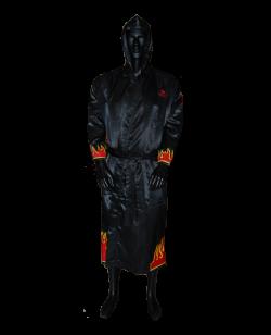 FW Boxer Mantel FLAME schwarze Robe mit Flammen Motiv