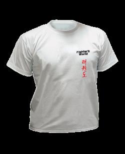 T-Shirt Taekwondo S grau mit Bestickung S