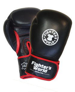 Fighter`s World  Linnox Training Boxhandschuhe schwarz echt Leder