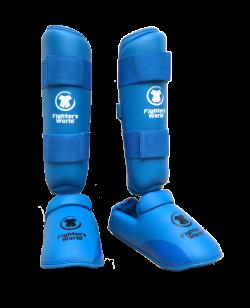 FW Karate Schienbein Fußschutz blau Fighter`s World