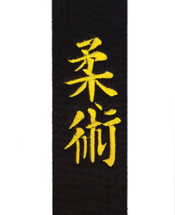 Stil Bestickung JIU JITSU in japanischen Schriftzeichen ca. 9 x 3cm auf Gürtel oder Textil