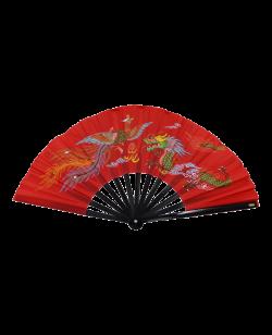 FW Kung Fu Fächer rot Holzstäbe mit Textilbespannung