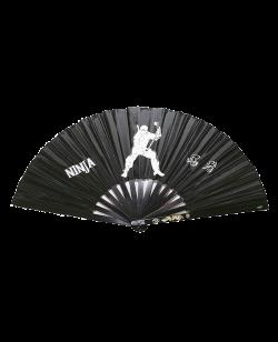 FW Ninja Kampffächer schwarz Metallstäbe mit Textilbespannung