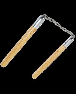 FW Holz Nunchaku braun mit Kette Griffe ca 30cm langes Gelenk CN