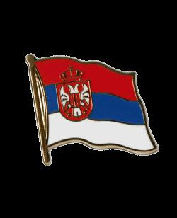 Flaggen-Pin Serbien mit Wappen