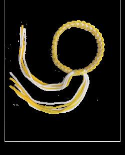 Muay Thai Armband Prajead gelb/weiß 3 Khan Armschmuck Prajiad