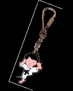 Schlüsselanhänger Karate lackierte Metallplatte mit Keyring