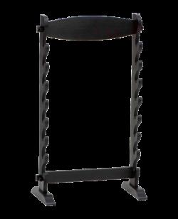 FW Wandhalter für Waffen und Schwerter 8 fach aus gebeiztem Holz schwarz
