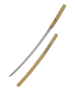 Samuraischwert Shirasaya flacher Holz Griff ohne Stichblatt