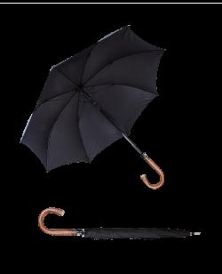 Sicherheitsschirm CITY SAFE mit Rundhaken Holzgriff stabiler Regenschirm Self Defense