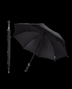 Sicherheitsschirm ORIGINAL stabiler Regenschirm mit Knauf schwarz Self Defense