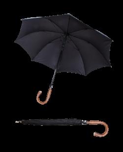 Sicherheitsschirm XXL mit Rundhaken Holzgriff stabiler Regenschirm Self Defense