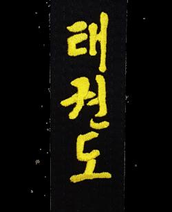 Stil Bestickung TAEKWONDO in koreanischen Schriftzeichen ca. 10 x 3cm auf Gürtel oder Textil