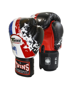 TWINS Thai Flag 12oz weiß Boxhandschuhe mit Klettverschluss 12oz