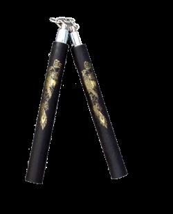 Nunchaku Soft Black Dragon Kette Griffe rund 32cm