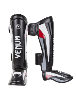 Venum Elite Stand up Shinguards Schienbein Ristschutz Black/Red/Grey 0986