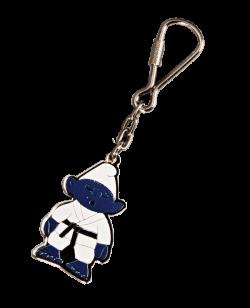 Schlüsselanhänger Budozwerg lackierte Metallplatte mit Keyring