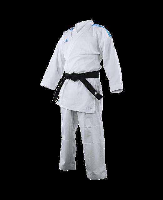 adidas K191SK Kumite Karate Anzug adiLight 165cm mit blauen Schulterstreifen 165