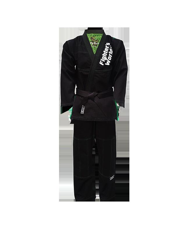 Fighter`s World PYTHON Brazilian Jiu Jitsu Anzug A2 schwarz/grün A2