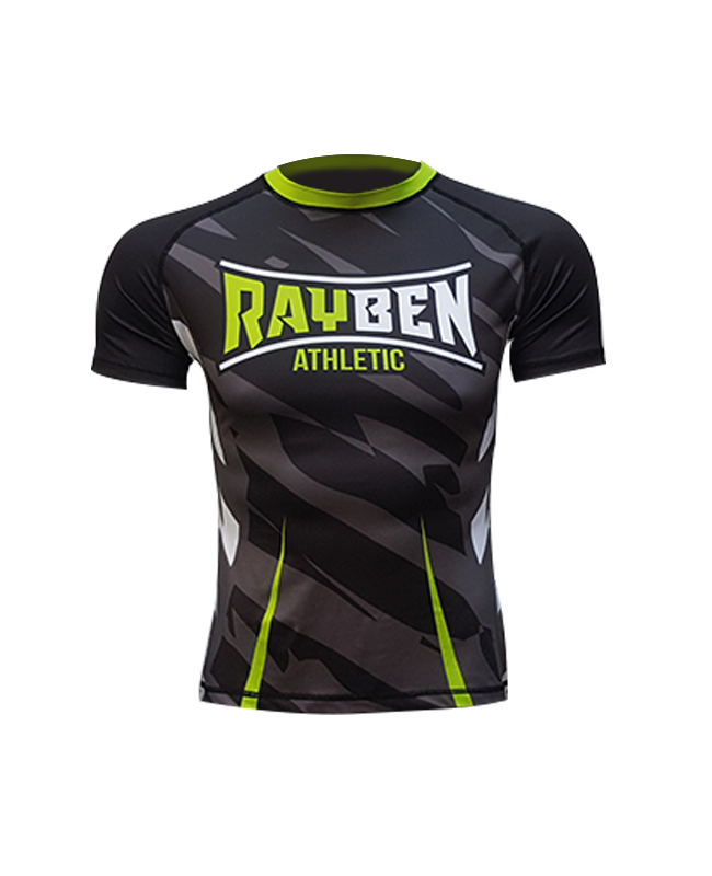 Rayben Zero Rashguard Kurzarm schwarz/grün