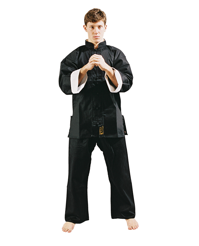 FW Shaolin Kung Fu Uniform Anzug schwarz mit weißen Kragen 140cm
