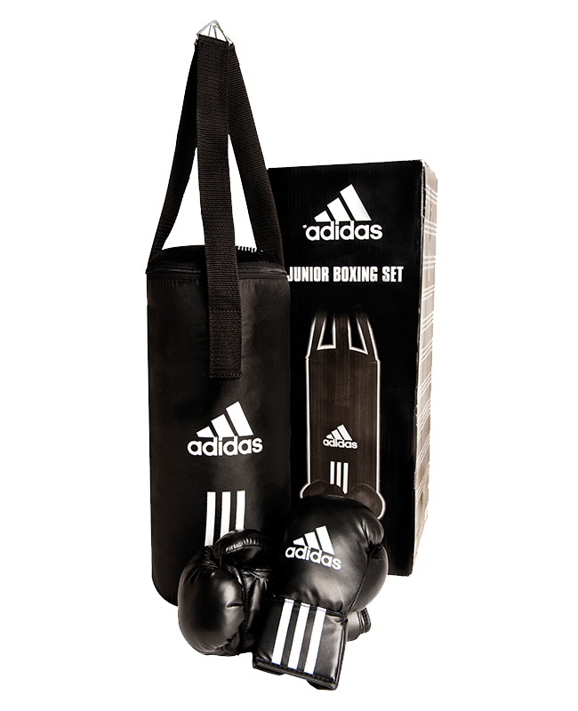 adidas Junior Boxing Set schwarz/weiß Boxsack 43x19cm + 6oz Boxhandschuhe adiBACJR