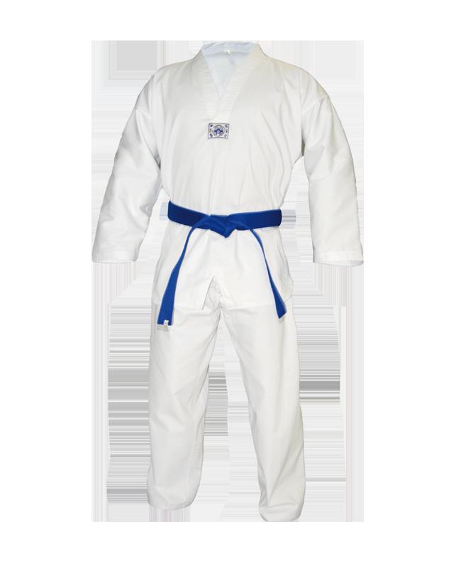 TaeKwonDo Anzug Ribbed weißes Revers 200 cm 200cm