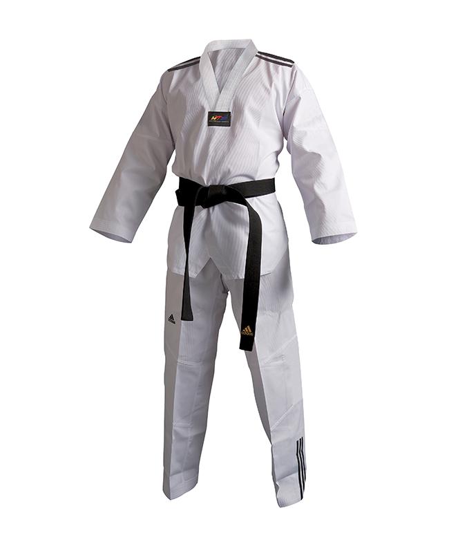 adidas Taekwondo Anzug Club 3 Streifen 150 weißes Revers adiTCB02 150cm