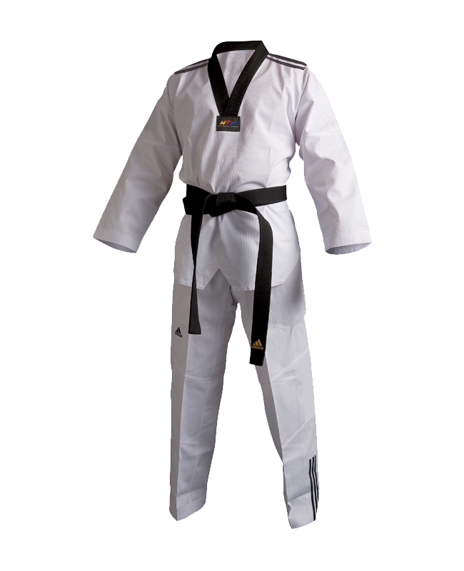 adidas Taekwondo Anzug Club 3 Streifen 170 schwarzes Revers adiTCB02 170cm
