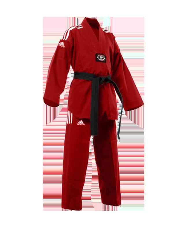 adiTCC01 TKD Champion Color Uniform rot/weiss