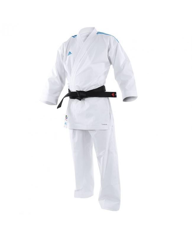 adidas K191SK Kumite Karate Anzug adiLight 155cm mit blauen Schulterstreifen 155