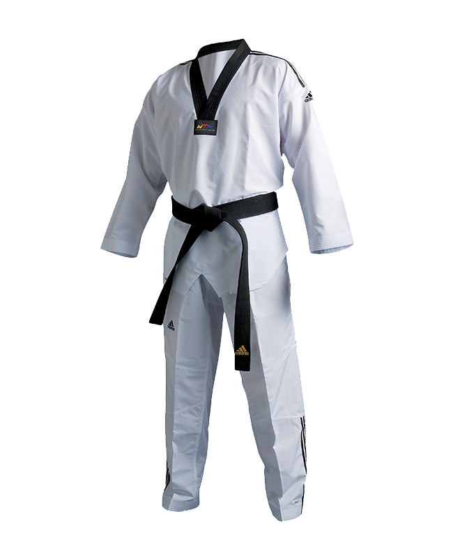 adiTF02 TKD Fighter Uniform 3 Streifen schwarzes Revers WTF approved 160cm
