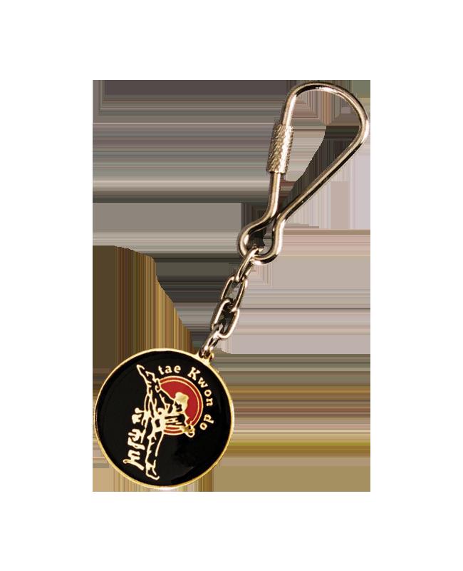 Schlüsselanhänger TaeKwonDo lackierte Metallplatte mit Keyring