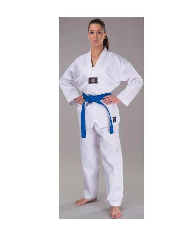 Fighter`s World TAEKWONDO Anzug JINYANG 120 cm weißer Kragen Aufdruck am Rücken wy2018 120