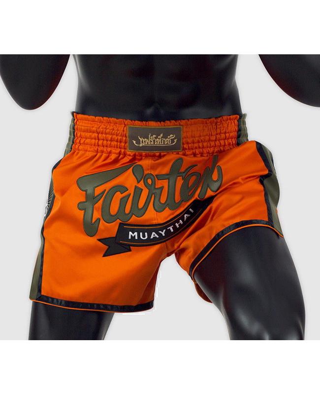Fairtex Muay Thai Short satin orange/grün BS1705